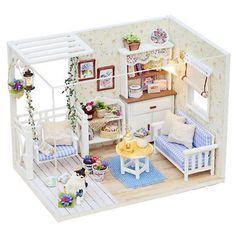 2016 New Doll House Furniture Kits DIY Wood Dollhouse miniature with LED+Furniture+cover Doll house room