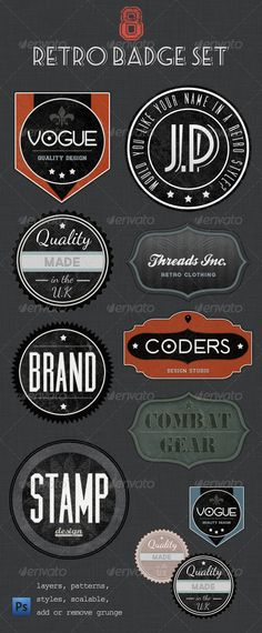 Retro Badges - Faded Vintage Labels by Jo Phillips, via Behance