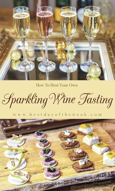 We've got all the instructions for hosting an awesome sparkling wine tasting, including food pairings in the form of delicious canapés. It's an easy way to host a party at home for New Years Eve, not to mention a ton of fun. Wine Tasting Notes, Wine Tasting Events, Wine Tasting Party, Wine Parties, Wine Tasting Glasses, Champagne Brunch, Champagne Taste, Birthday Brunch, Brunch Party