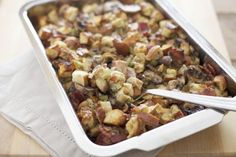 Pretzel Bread Stuffing with Bacon, Leeks and Mushrooms | Bourbon and Honey
