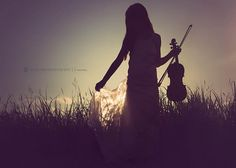 Child silhouette, violin, photography