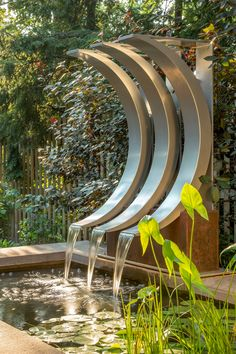 Buy a Hand Crafted Crescent-Shaped Water Feature, Modern Fountain, Fountain Design, Pond Design, Garden Design, Outdoor Water Features, Pool Water Features, Water Features In The Garden, Outdoor Wall Fountains, Garden Fountains