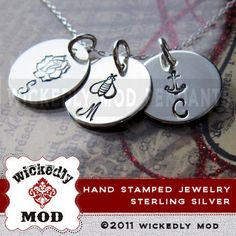 Hand Stamped  Charm Jewelry  Personalized by wickedlymodpendants,