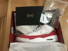 release date: 58531 d558d Nike Air Jordan Retro 3 Air Max 1 Tinker Hatfield White University Red Sz 14
