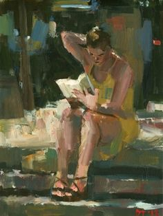 Reader #58 by darren thompson, Painting - Oil |