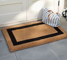 22 x 57=$89 Avail. in espresso. Take an extra 15% off.  Picture Frame Doormat #potterybarn