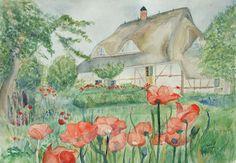 Unsere verkauften Aquarelle 2013 | Idylle (c) Aquarell von Frank Koebsch #Aquarell #mohn #poppies #watercolor