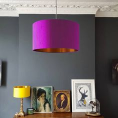 Brushed Copper Or Gold Lampshade In Palma Violet Silk