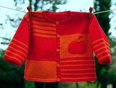 layette gilet pomme en laine 6-12 mois neuf tricoté main : Mode Bébé par com3pom