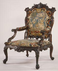 Armchair, ca. 1755, British Medium:Mahogany, needlework Dimensions:Overall: 51 × 31 1/2 × 33 in. (129.5 × 80 × 83.8 cm)