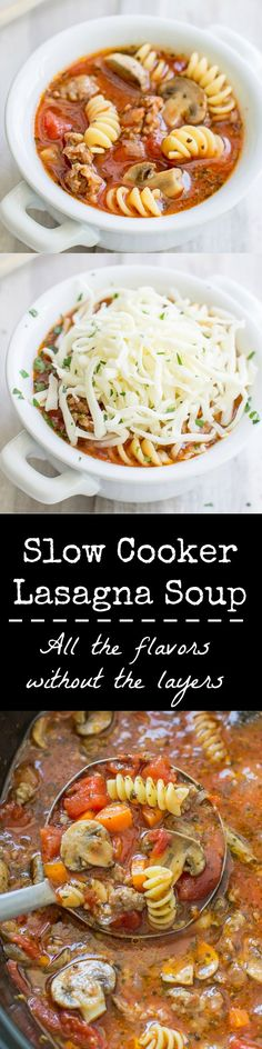 This delicious, hearty Slow Cooker Lasagna Soup is perfect for chilly weather or anytime you want lasagna without layering noodles and firing up your oven.