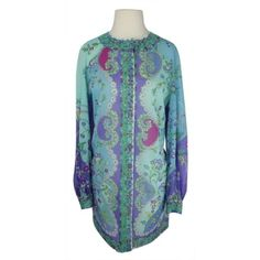 Vintage Emilio Pucci For Formfit Rogers 1960s Floral Long Sleeve Slip... ($237) ❤ liked on Polyvore featuring dresses, blue floral print dress, long sleeve floral dress, floral dresses, vintage slip dress and long sleeve vintage dresses