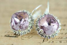 Light Amethyst Crystal Earrings Swarovski by inspiredbyelizabeth, $32.00