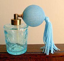 Vintage IRICE Aqua Crackle Glass Perfume Bottle Japan New Atomizer