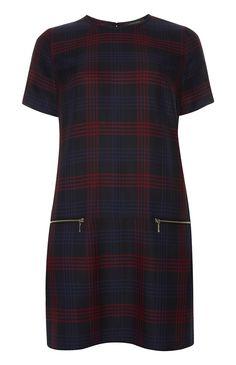Primark - Red Navy Check Tunic Dress