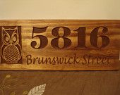 Welcome Owl Address Sign Nature inspired Wood Carved address plaque Best Gift idea for nature Great outdoors Mothers Day Benchmark Signs