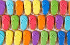 Eleni's New York - Flip Flops Cookie Gift Set Cookies Nyc, Cut Out Cookies, Cute Cookies, Cupcake Cookies, Cupcakes, Flip Flop Cookie, Macaroon Cake, Best Sugar Cookies, Summer Cookies