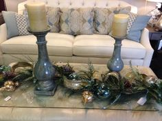 New use for garlands. . . lay across coffee table, mix with candlesticks