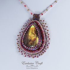 Bead embroidery pendant by Exclusive Craft www.exclusivecraftforyou.com