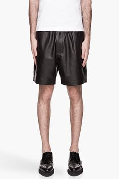 SURFACE TO AIR Black buffed leather Boxing Shorts.