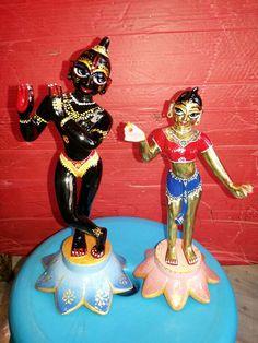 Radha Krishna Colorfull Brass Deity by RadhaKrishnaShop on Etsy