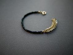 Black Bead Bracelet Black and Gold Bracelet Gold Chain Bracelet- Ave B