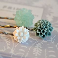 Beach Wedding Something Blue -  Floral Bobby Pin Hairpins