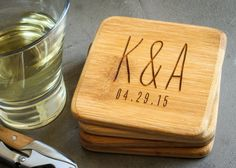 This set of four bamboo coasters will be custom laser engraved just for you. They are a great gift for a wedding, housewarmings, new parents, or to spoil yourself. Have fun with them! {SPECS} • Set of four bamboo coasters • Custom laser engraved • 4 x 4 inch natural bamboo • All four coasters will be engraved with the same design  {ORDERING} • Give engraving instructions in the text box provided upon placing the item in the shopping cart • Check spelling carefully before submitting order as…