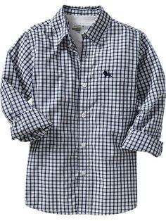 Boys Patterned Poplin Shirts