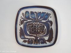 Click to see more photos! Lovely Royal Copenhagen Faience square bowl with abstract decoration by Kari Christensen, no. 429/2883 #midcenturymodern #mcm #madmen
