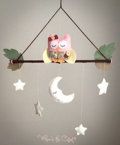 Handmade & Customizable Goodnight Owl Baby Mobile for Baby Girl OR Baby Boy. $35.00, via Etsy.