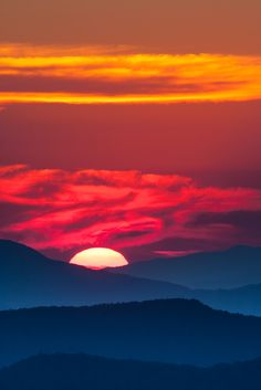 Fiery sunset over the Smoky Mountains