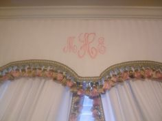 Macies pink and taupe nursery with monograms, Custom monogrammed cornice board and panels w/tassels Nurseries Design