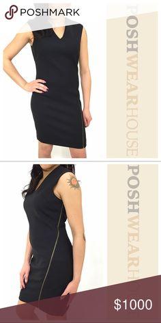 "Black Shift Dress NWT • Bust 36"" • 32"" Waist X 35"" Length • Side zip closure • Fully lined • Motostretch • Polyester, Virgin Wool, Rayon & Elastane Helmut Lang Dresses Midi"