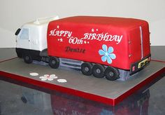 First ever go at a 'non cake-shaped cake'. There were some very sticky moments (so to speak) but I got there in the end. Now I can stop staring at lorries. Truck Cakes, Cake Stencil, Birthday Parties, Birthday Cakes, Novelty Cakes, Cupcake Cakes, Cupcakes, Cake Designs, Baked Goods