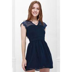 Cape Sleeve V-Neck Backless Lace Splicing Wide Hem Women's Dress (82 HRK) via Polyvore featuring dresses, backless lace dress, lace dress, blue dress, wide dress i v-neck dresses