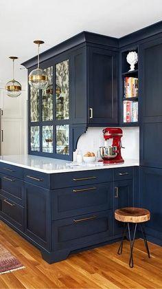 Kitchen Redo, Home Decor Kitchen, New Kitchen, Home Kitchens, Blue Kitchen Ideas, Kitchen Color Schemes, Awesome Kitchen, Island Kitchen, Modern Kitchen Design