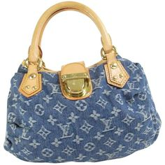 Pre-owned Louis Vuitton Blue Denim Monogram Pleaty Satchel ($568) ❤ liked on Polyvore featuring bags, handbags, blue denim monogram pleaty, preowned handbags, purse satchel, blue purse, monogrammed purses and blue hand bag