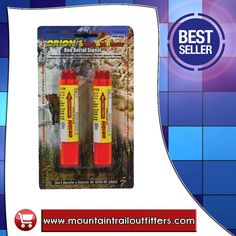 """Red Aerial Signal Handheld 2pk 752  SKU: 372829  Perfect signal to make rescuers aware of your location. Shoots a bright red signal over 400 feet into the air and burns for 7 seconds. Self contained ignition, no matches required. Weighs only 3.6 oz. 4.75"""" x 1"""".  Product direct link:  http://www.mountaintrailoutfitters.com/products/Red-Aerial-Signal-Handheld-2pk-752.html  Visit our website:  http://www.mountaintrailoutfitters.com/"""