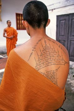 Monk with Lao tattoos. #lao #tattoo #monk