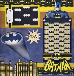 Batman 2 Premade Scrapbook Pages Boy Paper Piecing Layout 4 Album by Cherry | eBay