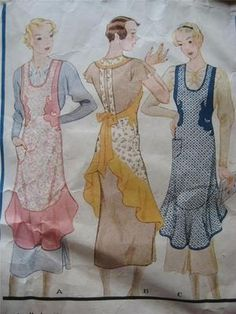 Vtg McCall Sewing Pattern Apron with Flounce & Applique #248 1930's