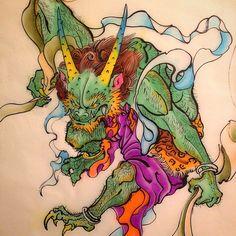 #fujin #godofwind #demon #oni #tattoo #irezumi #japanesetattoo #japanesepainting #tattooflash  #tokyo #melbourne #paris #inked #ink #tats #omniinks #風神