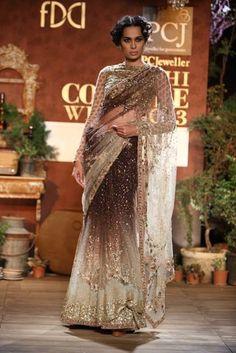 Sabyasachi PCJ Delhi Couture Week 2013. Gorgeous ombre sparkly sari