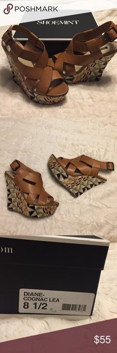 Shoemint Wedges Shoemint Wedges in brown with straw heels. Size 8.5 brand new never worn! Shoemint Shoes Wedges