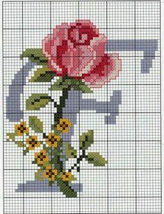 Steel Blue with Roses Alphabet Cross Stitch Pattern F Cross Stitch Letters, Cross Stitch Rose, Cross Stitch Charts, Cross Stitch Designs, Cross Stitching, Cross Stitch Embroidery, Hand Embroidery, Beading Patterns, Embroidery Patterns