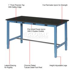 "Work Bench with Electric | Fixed Height | 72""W x 30""D Production Workbench with Power Apron - Phenolic Resin Safety Edge - Blue 