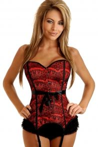 RED STRAPLESS LACE FANTASY CORSET