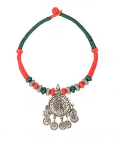 Knitted Necklace with Silver Disc Pendant