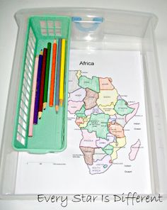 Montessori-inspired Africa themed learning activities and free printables for kids. Africa Activities For Kids, Geography Activities, Geography For Kids, Maps For Kids, Pre K Activities, Montessori Activities, Learning Activities, Montessori Homeschool, Montessori Elementary